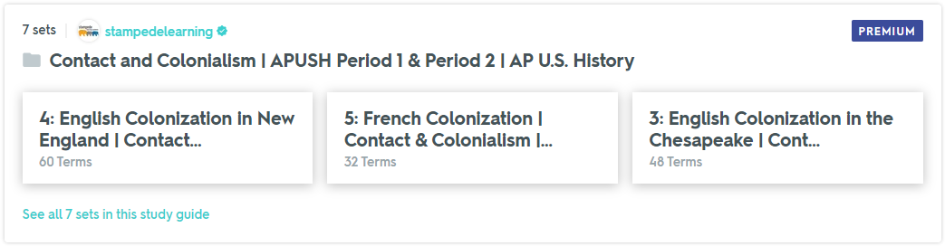 APUSH Period 1 and Period 2 Flashcards & Practice Tests on Quizlet by Stampede Learning Systems
