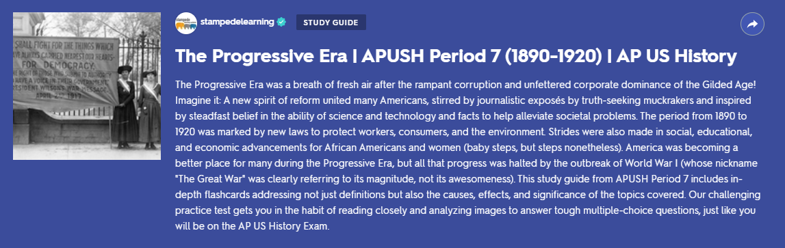 Progressive Era (1890-1920) APUSH Period 7 Study Guide & Practice Test on Quizlet by Stampede Learning Systems