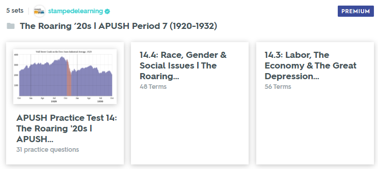 The Roaring '20s - APUSH Period 7 Study Guide & Practice Test on Quizlet by Stampede Learning Systems