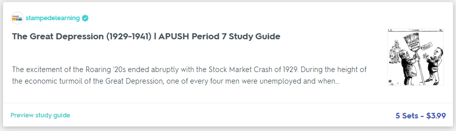 The Great Depression (1929-1941) | APUSH Period 7 Study Guide on Quizlet by Stampede Learning Systems