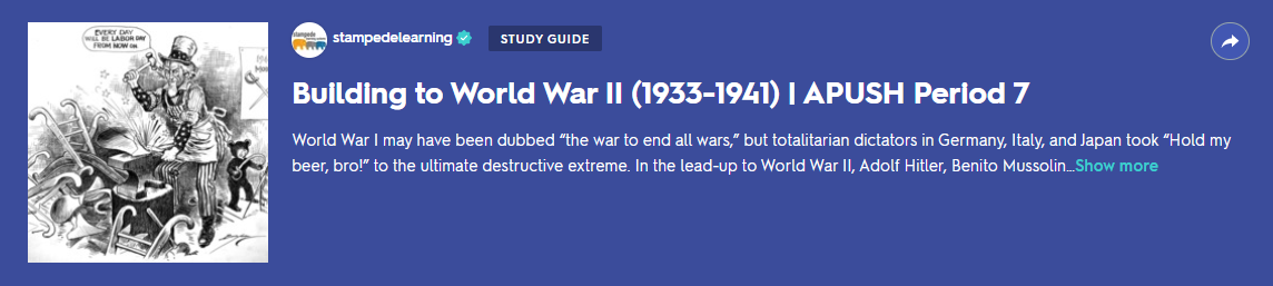 Building to World War II (1933-1941) | APUSH Period 7 Study Guide on Quizlet by Stampede Learning Systems