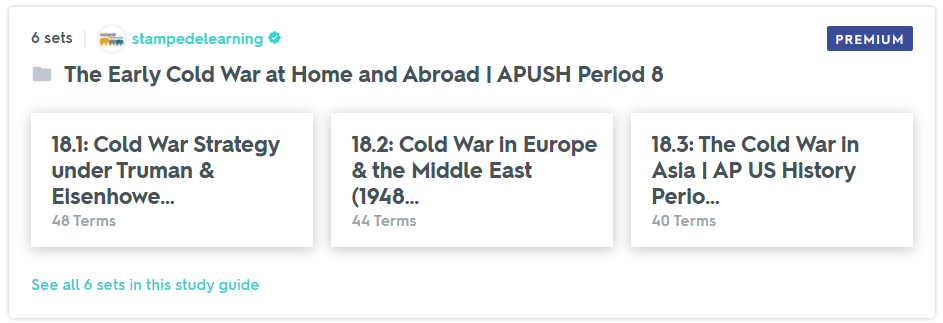 The Early Cold War at Home and Abroad (1945-1961) | APUSH Period 8 Study Guide on Quizlet by Stampede Learning Systems