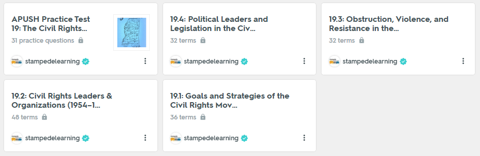 The Civil Rights Movement (1954–1968) | APUSH Period 8 Study Guide on Quizlet by Stampede Learning Systems