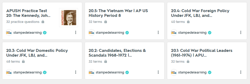 The Kennedy, Johnson & Nixon Administrations (1961-1974) | APUSH Period 8 Study Guide on Quizlet by Stampede Learning Systems